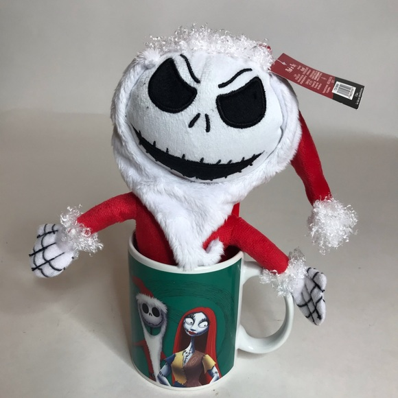Nightmare Before Christmas Jack Skellington Santa Plush In Coffee Mug NEW....